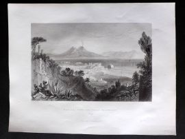 G. N. Wright 1840 Antique Print. Naples from the Villa Flaconnet, Italy